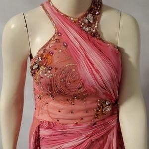 Evening dress pink sleeveless long